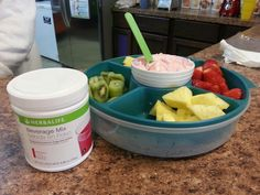 Fruit dip! 2 scoops berry beverage mix, 1 single container of Greek yogurt and 1 (8oz.) Less fat cream cheese. Mix and serve with fruit. Herbalife more than shakes! Suzan.smith64@gma... Herbalife shakes Herbalife Herbalife24 Herbalifers Herbalifer