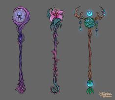 """faebelina: """" Some staff designs I made for my druid that I wish she could wield in-game! Fantasy Jewelry, Fantasy Art, Staff Magic, Dnd Druid, Wizard Staff, Arte Do Kawaii, Elemental Magic, Anime Weapons, Witch Art"""