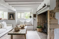 I like the shelf above the inglenook. Cottage Lounge, Cottage Living Rooms, Cottage Interiors, Home Living Room, Small Room Design, Family Room Design, Inglenook Fireplace, Country Fireplace, Estilo Country