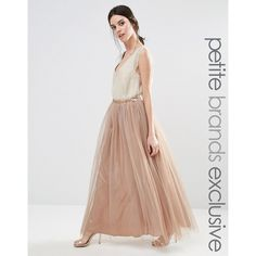 True Decadence Petite All Over Tulle Full Maxi Skirt (4805 RSD) ❤ liked on Polyvore featuring skirts, petite, tan, tan skirt, long tulle skirt, full maxi skirt, floor length skirts and tulle maxi skirt
