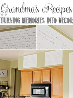 Recipes What a sweet idea! I want to do this with MawMaw's and mom's recipes! ~Nik Turning Grandma's Recipe into Kitchen DecorWhat a sweet idea! I want to do this with MawMaw's and mom's recipes! ~Nik Turning Grandma's Recipe into Kitchen Decor Kitchen Redo, Kitchen Remodel, Kitchen Design, Kitchen Ideas, Kitchen Inspiration, Recipe For Mom, Mom's Recipe, Home Projects, Home Kitchens