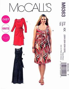 McCall's Sewing Pattern 6363 Easy Women's Dress in two lengths.    Description: Pullover knit dress dress in two lengths, sleeveless or long sleeves