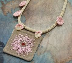 Hand Embroidery Necklace Textile Fiber Queen Annes by Waterrose. This has a French Knitting base.