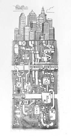 Love these illustrations of the buildings in New York by James Gulliver Hancock