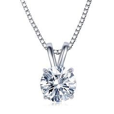 """UMODE Jewelry 2 Carat Round Cut Clear Cubic Zirconia CZ Solitaire Pendant Necklace for Women 18\"""" (16\"""" 2\"""" Ext.) * For more information, visit image link."""