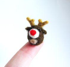 Rudolph needle felted miniature by HandmadeByNovember on Etsy, $7.00