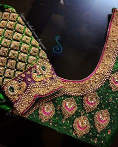 To get your outfit customized visit us at Chennai, Vadapalani or call/msg us at for appointments, online order and further… Wedding Saree Blouse Designs, Pattu Saree Blouse Designs, Designer Blouse Patterns, Fancy Blouse Designs, Blouse Neck Designs, Sari Blouse, Stylish Blouse Design, Hand Designs, Aari Work Blouse