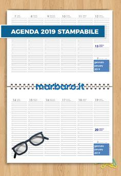 Agenda planning 2019 da stampare Free Printable Calendar, Free Printables, Agenda Planning, Planner Ideas, Filofax, Planners, Alice, Bullet Journal, Events