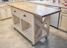 Diy kitchen island with seating small spaces benches 31 ideas Rolling Kitchen Island, Kitchen Island On Wheels, Kitchen Island Decor, Kitchen Island With Seating, Diy Kitchen Cabinets, Kitchen Layout, Kitchen Furniture, New Kitchen, Kitchen Design