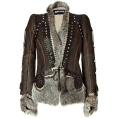 JUST CAVALLI Chocolate Boho Leather And Fur Combo Jacket (4 345 AUD) ❤ liked on Polyvore featuring outerwear, jackets, coats, tops, coats & jackets, slim leather jacket, fur lined jacket, studded jacket, genuine leather jacket and fur jacket