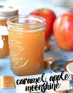 Caramel Apple Moonshine Recipe Beverages Cocktails with apple juice apple cider cinnamon sticks clove light brown sugar white sugar candy moonshine caramel vodka Fall Drinks, Party Drinks, Summer Drinks, Cocktail Drinks, Mixed Drinks, Alcoholic Drinks, Drinks Alcohol, Cocktail Recipes, Alcohol Shots
