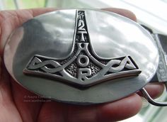 PEWTER THORS HAMMER BELT BUCKLE 7.5 cm Wicca Pagan Witch Goth
