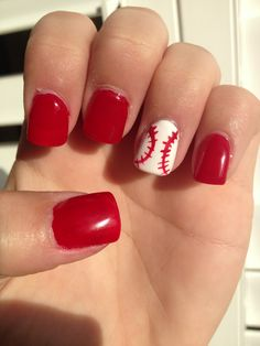 Baseball nails. cute and simple enough...  Free Nail Technician Information