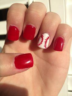 Baseball nails. cute and simple enough...
