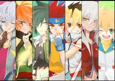 Amazing beyblade fan art! From left to right, Hyoma, Nile, Kyoya, Gingka, Sora, Tsubasa, and Yu!!! <3