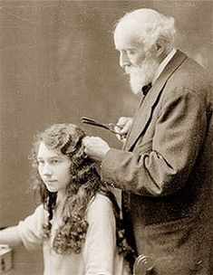 Marcel Grateau wave, 1872 Paris- advancement in the curling iron. Tongs, rounded on the inside, one arm was concave, the other convex and they inside each other. The tongs were heated and the hair was pressed inside., leaving the waved look above. i.e.) Crimping