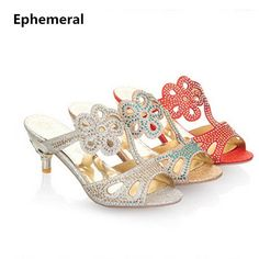 38f0c4718be6 Lady s Flower Crysal Peal Thin High Heel Sandals Fashion Slides Plus size  34 43 Women s Cut Outs Shoes Silver Gold Flip Flops-in Slippers from Shoes  on ...