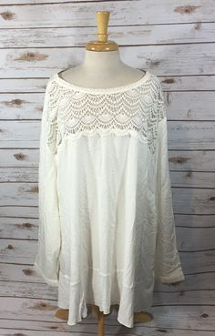NEW Ellos Plus Size Womens 5X Ivory Rayon Boho Tunic Top Shirt Crochet Trim #Ellos #Tunic #Casual