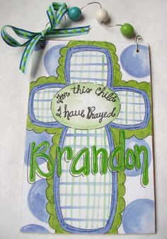 Hand painted and personalized boys cross name by pinkfishstudios, $10.00