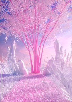 Big pink tree reflects on a violet-white field. by AvantForm Contributor fvckrender Aesthetic Backgrounds, Aesthetic Wallpapers, Fantasy Landscape, Fantasy Art, Cute Wallpapers, Wallpaper Backgrounds, Art Et Design, 3d Design, Baumgarten