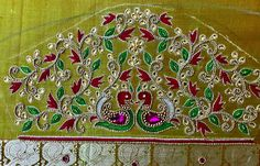 unique designers: Grand elbow sleeve embroidery with tracing paper Handmade Embroidery Designs, Peacock Embroidery Designs, Bead Embroidery Tutorial, Diy Embroidery Kit, Border Embroidery Designs, Floral Embroidery Patterns, Blouse Designs High Neck, Best Blouse Designs, Bridal Blouse Designs