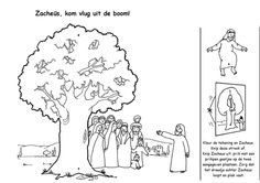 Zacheüs kom vlug uit de boom knutsel met touwtje Zacchaeus climb down the tree craft with a rope