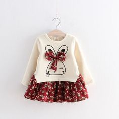 Autumn/Winter Baby Girls Dress with Rabbit Printed Top and Floral Skirt Bottom (1pc) 2-6T