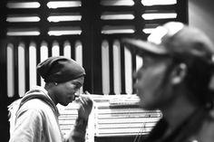 A$AP Rocky & Pharrell in the studio in Miami.