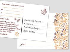"""Ballonflugkarten zur Hochzeit (A6) aus unserer Kollektion """"Herbst"""".  Die Karten haben ein Format von 14,8x10,5cm, eine Grammatur von 170g/m² und eine Karte wiegt 2,7g. In einer Packung sind 50 Ballonflugkarten."""