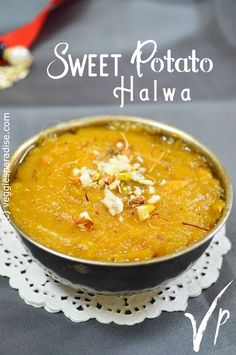 SWEET POTATO HALWA - Hello Friends, Today I am sharing a healthy and delicious Halwa recipe made with Sweet Potato. As this vegetable is loaded with lots of nutrients it can be included regularly in our diet. One such way is by preparing this rich and flavourful dessert. Sweet Potato, Paradise, Potatoes, Diet, Vegetables, Friends, Healthy, Ethnic Recipes, Desserts