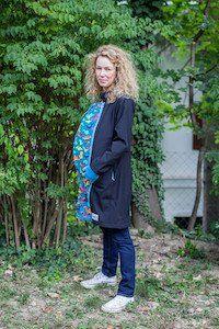 4in1 babywearing coat black 'n turquoise- dinosaur - NANA wear