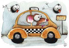 ACEO Original watercolor Folk Art Whimsical illustration Mouse taxi crow bird #Folkartillustration