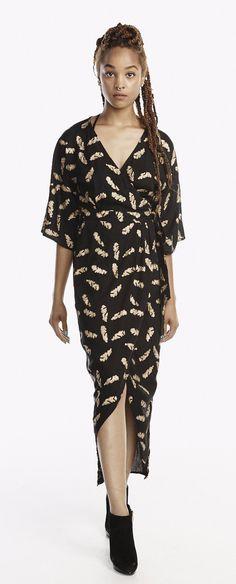 Kimono Maxi Wrap Dress in Gold Feather