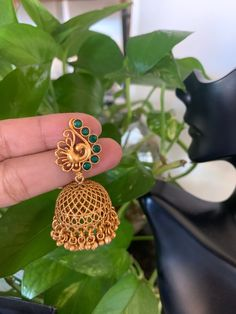 Your place to buy and sell all things handmade – Jhumkas Gold Jhumka Earrings, Indian Jewelry Earrings, Jewelry Design Earrings, Gold Earrings Designs, Antique Earrings, Bridal Earrings, Necklace Designs, Jhumka Designs, Gold Necklace
