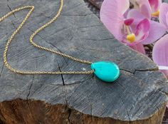 Natural Turquoise Necklace, Gold Arizona Turquoise Pendant 14K Gold, Rose Gold or Sterling Silver, December Birthstone Necklace Blue Drop by KarousosJewelry on Etsy