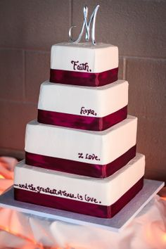 Wedding cake with words on each tier
