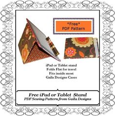 Gratis soporte del iPad patrón patrón de costura en Craftsy.com ipad stand, tablet stand, youcanmakethiscom, craft idea, stand sew, sew pattern, card holder, free ipad, sewing patterns