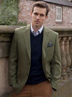 Olive. Herringbone jacket. Three piece. Wool.