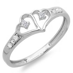 0.15 Carat (ctw) Sterling Silver Round White Diamond Ladies Promise Double Heart Love Engagement Ring -- Awesome product. Click the image : Engagement Rings Jewelry