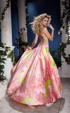 Pretty dress. Pink + Yellowish Green + Flowers