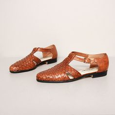 1980s T Strap Flats  Brown Woven Leather by OldFaithfulVintage, $34.00