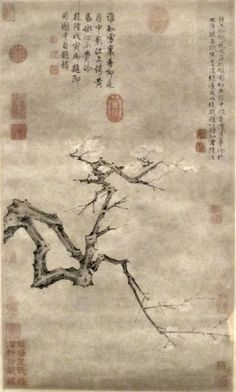 'Plum Blossoms', ink and color on paper by Lu Zhi