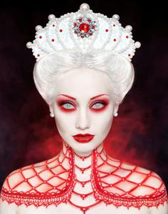 [ Halloween Makeup Ideas : Illustration Description Red and white by Nelly Recchia. For Vampire ball. Would be REALLY cool and creepy. *I was like whoa. Sfx Makeup, Costume Makeup, Witch Makeup, Scary Makeup, Halloween Kostüm, Halloween Face Makeup, White Contacts Halloween, Halloween Parties, Fantasy Make Up