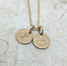 Pink Box Heart Lariat Initial Necklace J Gold