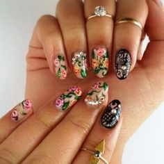 Trendy Floral Nail art. For more nail art ideas, visit www.nailartbank.com