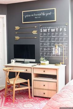 This home office space is so stylish and chic! Tutorial on how to make an acrylic wall calendar. LOVE!