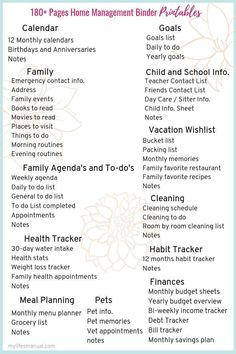 List of docs to include in a Home Management Binder for productivity and time management for busy moms Monthly Menu Planner, Mom Planner, Planner Pages, Printable Planner, Emergency Preparedness Binder, Home Management Binder, Time Management Printable, Home Binder, Household Binder