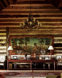 colorado calling dream house - chandelier and wall textures