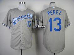 MLB Kansas Royals #13 perez grey New Jersey