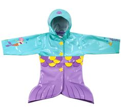 Kidorable Kids Toddler Mermaid Rain Coat, Size 3T Blue